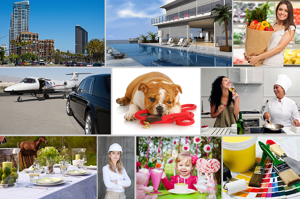 Pictures of personal tasks that can be done by a personal concierge